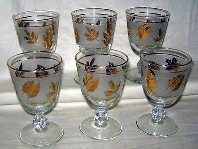 """Vintage 6 Libbey Frosted 8 Oz Gold Leaf Cordial Water Goblets 51/"""" x 3 1/4"""""""