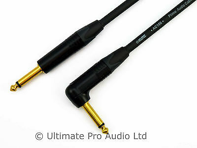 Klotz Cable Guitar Lead Black Gold Neutrik Straight to Right Angle Jack AC106