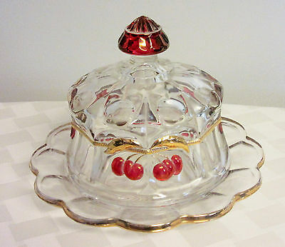 Cherry Cable covered cheese plate Mosser domed butter dish Thumbprint pattern