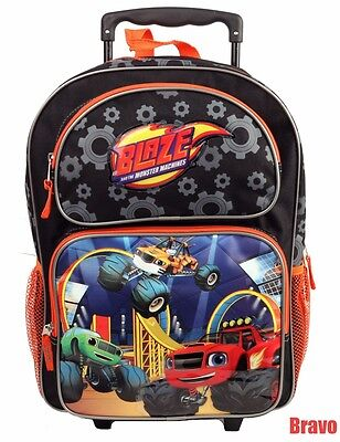 """2016  Blaze And The Monster Machines BOYS 16"""" LARGE ROLLING BACKPACK ROLLER BAG"""