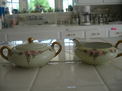 Beautiful Vintage Hand Painted Pink Roses Creamer And Sugar Royal Austria O&EG