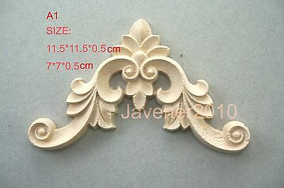 11.5*11.5*0.5cm Wood Carved Corner Onlay Applique Unpainted Fitment A1 QTY.1