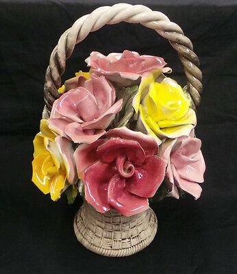 CAPODIMONTE CROWN N BASKET OF ROSES FLOWERS MADE IN ITALY
