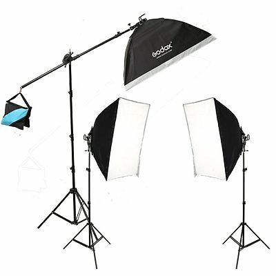 Godox Studio Continuous Lighting Tricolor Bulbs + Light Stands + Softboxes Kit