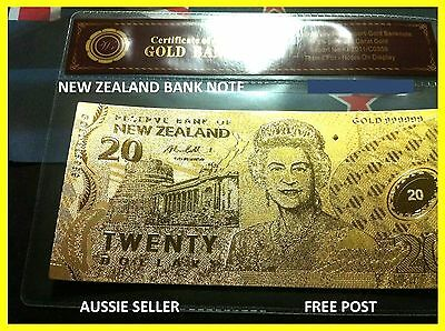 Nz $20 Dollar New Zealand Gold Note Banknote Polymer Banknotes 24K Gold