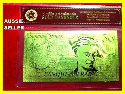 France 50 Franc Gold French Banknote 24Kt Gold 99.9 Gold Bank Note