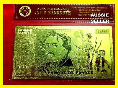 France 100 Franc Gold French Banknote 24Kt Gold 99.9 Gold Bank Note