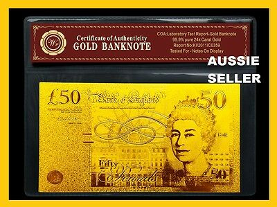 UK  £50 BRITISH Banknote GOLD bank note Pound ENGLAND 24Kt Gold w/COA