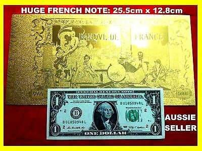 Huge Banknote Gold French  France 1918 5000 Franc Actual Size 24Kt 99.9  Note