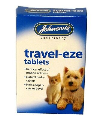 Johnsons Travel Sickness Cat Dog Natural Calming  Eze Tablets Fast Free Postage