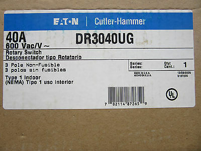 Cutler Hammer DR3040UG Rotary Switch 3 Pole 40 Amp 600V NEW!!! in Sealed Box