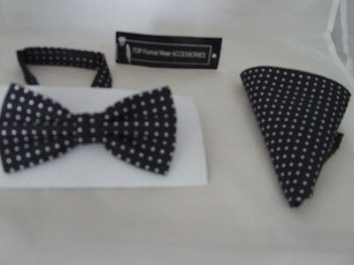 (020)  Black with Silver Polka Dots - 100% Silk Mens Bow Tie  and Hankie Set