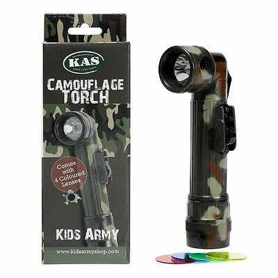 Kids Army Camouflage Torch - 4 Coloured Lenses - C Cell Flashlight