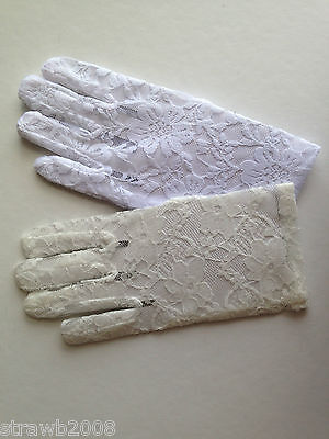Pretty White or Cream Lace Gloves ~ Bridesmaid ~ Holy Communion ~ Confirmation