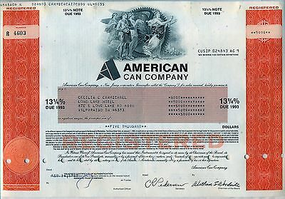 American Can Company Bond Stock Certificate New Jersey