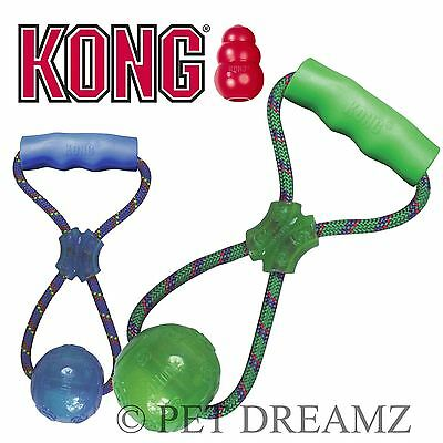 Kong Squeezz Dog Puppy Ball With Handle Fetch Tug Catch Toy - 2 Sizes