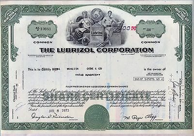 The Lubrizol Corporation Stock Certificate Chemicals Berkshire Hathaway Green