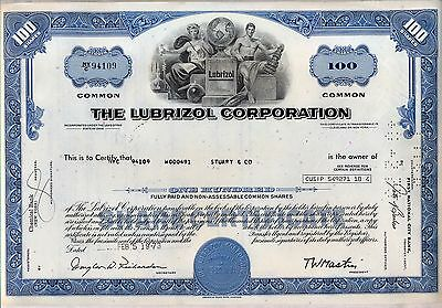 The Lubrizol Corporation Stock Certificate Chemicals Berkshire Hathaway Blue