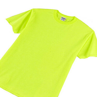 Safety Green Gildan 5000 Fluorescent Neon ANSI High Visibility T Shirt