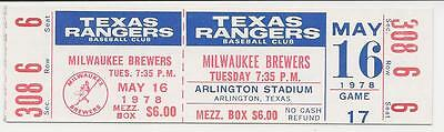 1978 MILWAUKEE BREWERS--TEXAS RANGERS Baseball FULL TICKET - MOLITOR, YOUNT Hits