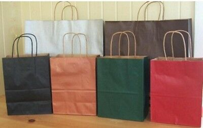 BARN RED SOLID TINT KRAFT SHOPPER GIFT BAGS -  25 Large