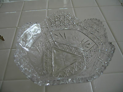 Beautiful Vintage Clear Crystal Cut Glass Scalloped Bowl Etched Floral