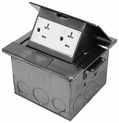 Pop-up Floor Box Outlet Ultra-Thin Square Nickel Brass 20A TWR Duplex Receptacle
