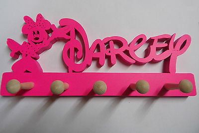 wooden coat pegs hangers personalised Disney name style with minnie Fluorescent