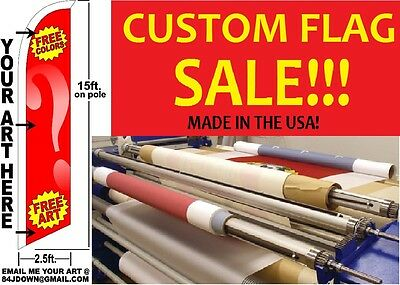 Custom Personalized Windless Swooper Flag Feather Bow Tall Banner Free Shipping