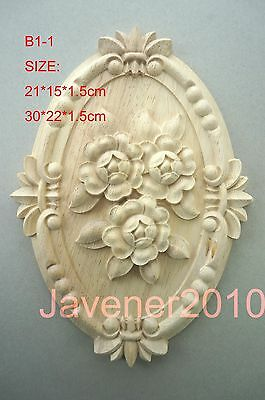 21*15*1.5cm Wood Carved Round Onlay Applique Exquisite Unpainted B1-1 QTY.1