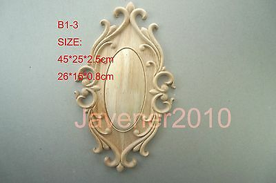 26*15*0.8cm Wood Carved Round Onlay Applique Resin Unpainted B1-3 QTY.1