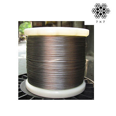 "1/25"" 1.0mm 7x7 Marine Grade 316Stainless Steel Cable Wire Rope (100feet)"