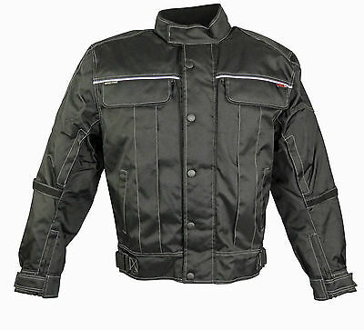 Mens New Motorcycle Motorbike Jacket Waterproof Textile Cordura Black Protectors