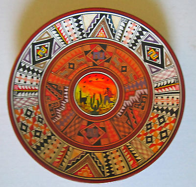 Adalid art pottery painted red clay plate llama wall decor South American