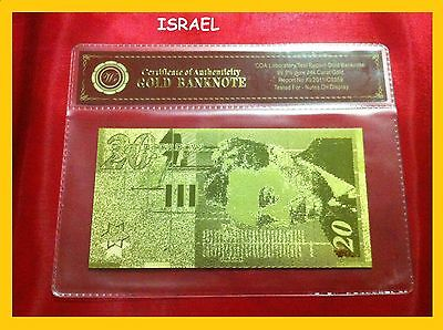 Banknote Israel 20 Shekel 24Kt Gold Bank Note With Certificate Of Authenticity