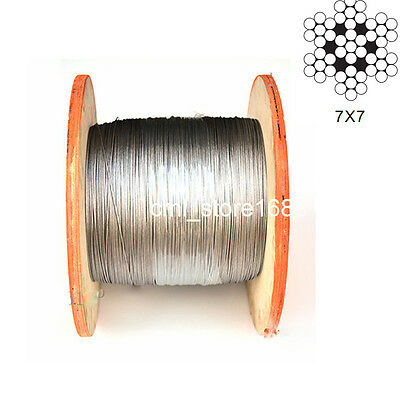 "1/16"" 100% Marine Grade 316 Stainless Steel Cable Wire Rope (50feet)"