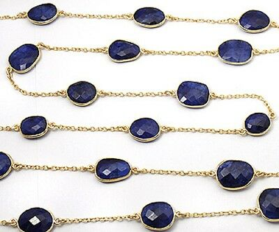 Gold Plated Silver Chain W/bezelled Dyed Sapphire 10.9X13.2 To 12.8X17.4Mm 36""