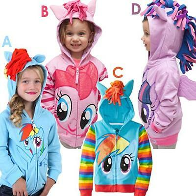 My Little Pony Pink Hoodie Hooded Jumper Top Outfit Set Girls Jacket Winter Uk