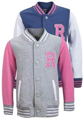 New Soul & Glory Girls Casual Wear Two Colour Baseball Jacket Grey-Pink Age 3-4