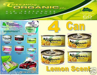 4 Can Treefrog Organic Air Freshener for Car, Home,Auto,Office- LEMON Scent