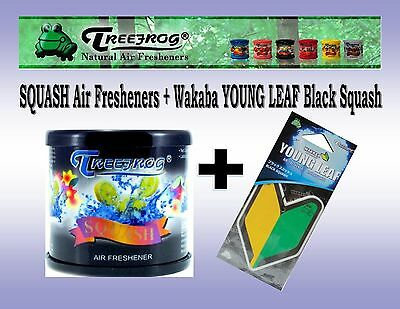 1 Can Treefrog SQUASH Scent + 1 Young Leaf  Black Squash Car Air Freshener  JDM