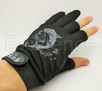 ANTI SLIP PALM course sea fly fishing gloves 3 CUT FINGER VELCRO STRAP one size