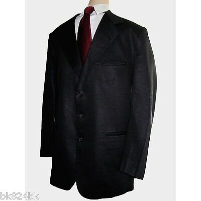 BOUTIQUE Vintage Mens 100% Linen 3-Button Suit Jacket Pants Black 44/52 L EU