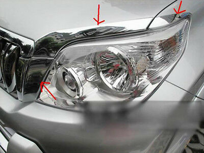 For Toyota Land Cruiser Prado J150 2010-13 chrome Front Head Light Eyelid Cover