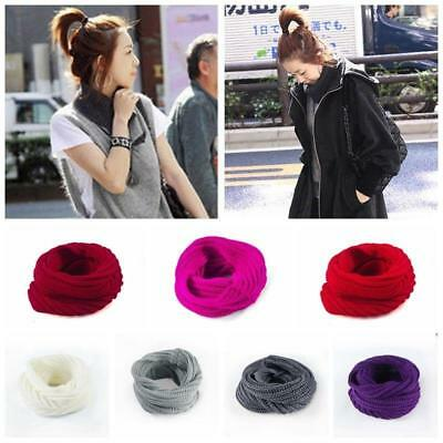 Women Ladies Wool Knit Winter Warm Knitted Neck Circle Cowl Snood Scarf LH