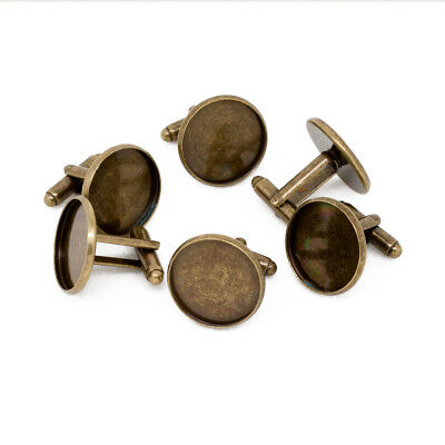 Antique Bronze Cufflink Setting Blanks Fits 18mm Cabochon