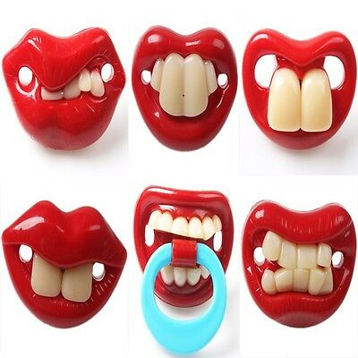Red Funny 6 Different Style Lip Dummy Joke Prank Baby Newborn Pacifier Soother N