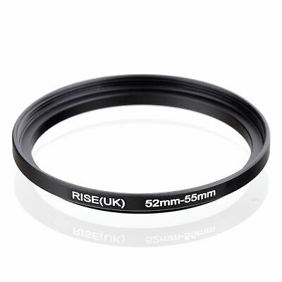 52-55mm 52mm-55mm 52 to 55 Metal Step Up Lens Filter Ring Stepping Adapter Black