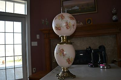 Antique 1800's Gone With the Wind Oil Lamp, Hand Painted Floral, Light Pink, 937