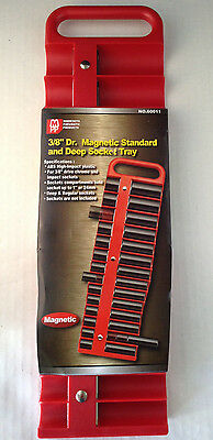 "3/8"" Dr Magnetic Standard and Deep 22pc Socket Tray - Choice of Red or Black"